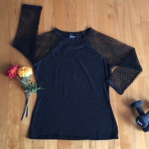 Nasty Gal Black T Shirt Crew Neck W/Mesh Sleeves.